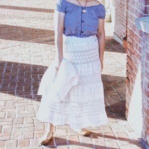 "Dresses & Skirts - Women's White Upcycled Boho Style 32"" Skirt (XL)"